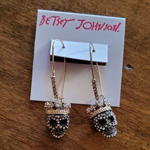NEW BETSEY JOHNSON Skull with Crown Earrings